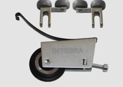 Set of rollers for bottom sliding door system non symmetrical
