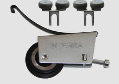 Set of rollers for bottom sliding door system symmetrical