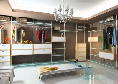 modern aluminum walk-in closet