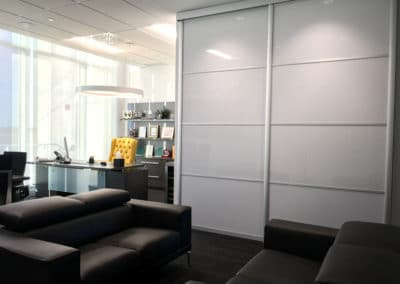 White suspended sliding doors in office 2