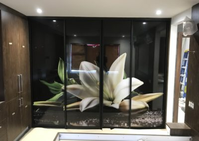 black framed sliding doors with image