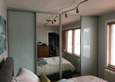 mirror and white glass closet doors