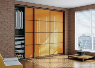Painted glass closet sliding doors