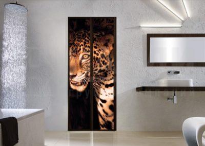 portes battantes en aluminium avec image