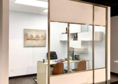 portes coulissantes de bureau avec verre transparent et melamine blanc