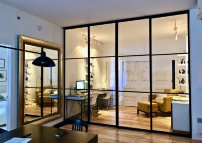 transparent glass sliding doors with mat black frames