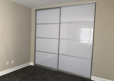 white acrylic sliding doors with sections
