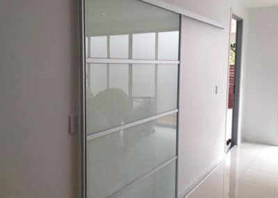 white glass modern barn door